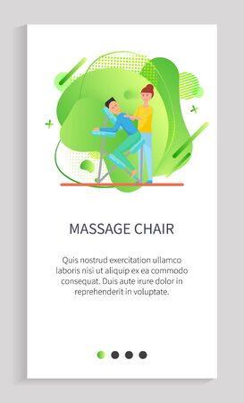 Massage chair vector, equipment for body relaxation, masseuse with client lying on special place to relax. Therapist curing back of person. Website or app slider template, landing page flat style Ilustração