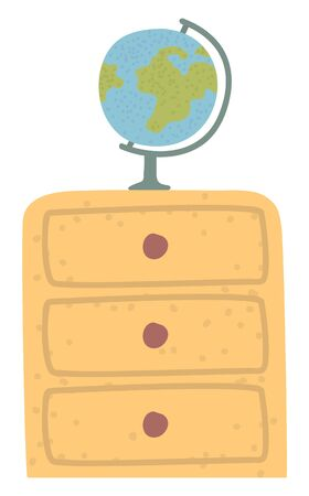 Globe on cupboard, geography classroom, furniture object. Planet on wooden shelf, researching equipment, studying element, interior sign, world vector. Back to school concept. Flat cartoon