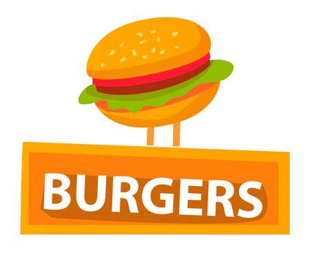 Fast food vector, isolated burger icon flat style. Bun with sesame and lettuce salad leaves and tomato, meat and stuffing. Burgers logo with text. Tasty filling meal snack. Flat cartoon Illustration