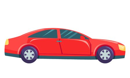 Red small car, hatchback or sedan on street isolated on white background. Automobile to drive and get your destination quickly. Dark, black and toned glasses. Vector illustration in flat style