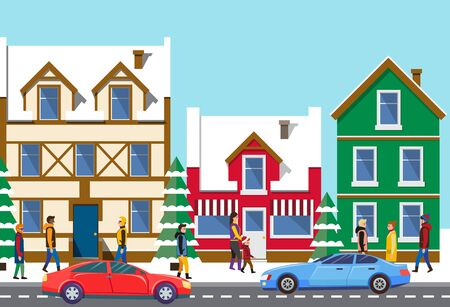 Old winter town vector, buildings exteriors with snow, cityscape with estates of citizens, Christmas street. Road with cars and transport, skyline with people walking on streets, flat style design