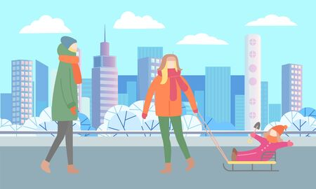 People strolling together on pathway in urban park. Winter walk of father and child. Man rides kid on sled. Beautiful landscape, cityscape of city on background. Vector illustration flat style Illusztráció