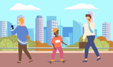 Cityscape with people vector, walking characters flat style. Kid on skate, skating child and businessman talking on phone. Personage looking at screen of smartphone teenagers and adults in town
