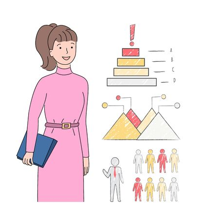Woman with documents and information, lady with charts and info in graphics and visual representation, person looking at infocharts statistics. Vector illustration in flat cartoon style