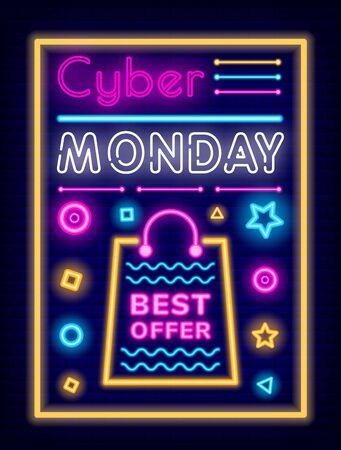 Cyber monday promotional poster vector. Neon effect of text and decorative elements. Store advertisement with best offer for clients. Cheap products sellout. Bag with geometric shapes and forms