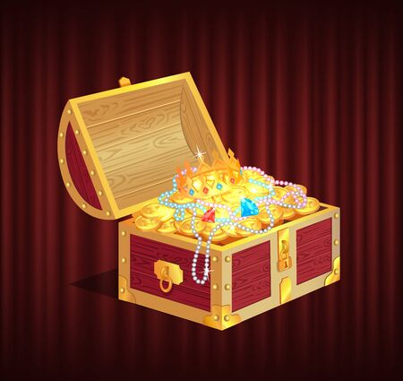 Open dower chest with diamonds, gold and silver coins. 3d view of box with lock and precious sign, brilliant and money in container, golden crown, loot object vector. Red curtain theater background