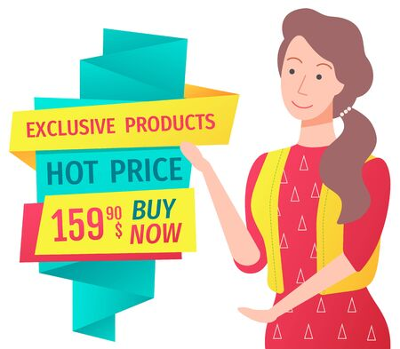 Woman presenting sale in shop, isolated character personage with banner made of stripes. Hot price and premium products, female on sale. Vector illustration in flat cartoon style Illustration