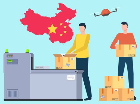 Man unloading or loading parcels for international shipping. Worldwide transportation and delivery cargo. Import and export of products. Flag of China on background. Drone delivery. Vector flat style Illusztráció
