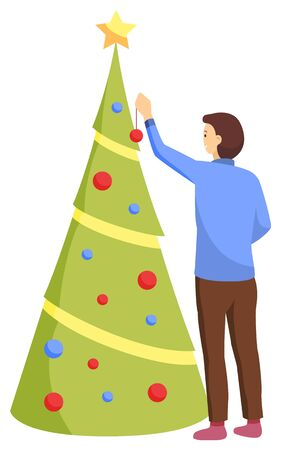 Winter holding card woman character decorating Christmas tree with ball and star toy. Postcard decorated by female back view standing near tree with gift. Traditional Xmas celebration object vector 向量圖像