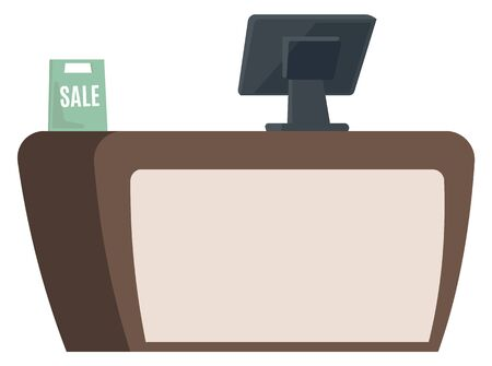 Cashiers table with computer and techniques, isolated desk with modern devise. Sale banner or bag, shopping and buying products in store shop. Vector illustration in flat cartoon style