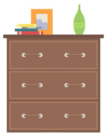 Furniture for home decor, isolated chest of drawers made of wooden material. Vase and picture frame on surface, books and publications on top of table. Vector illustration in flat cartoon style