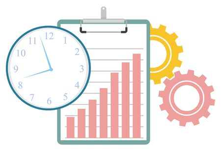 Cogwheels gears and tools for work optimization, isolated clipboard with growing chart. Time management clock with hands and hours. Vector illustration in flat cartoon style Stock Illustratie