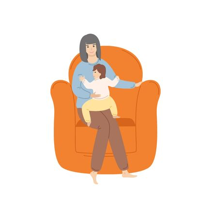 Woman with child, mother and kid toddler spending evening together, lady with kiddo sitting on comfortable and fluffy armchair family isolated. Vector illustration in flat cartoon style