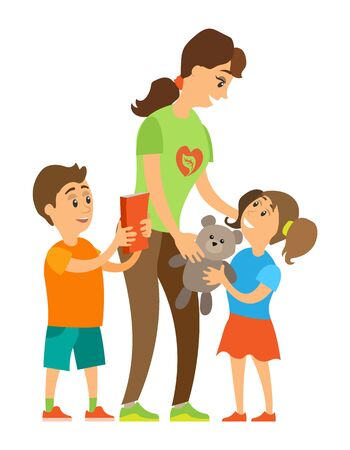 Smiling woman volunteer giving teddy to little girl, boy holding book, caring to orphans, portrait view of assistance and children, volunteering . Vector illustration in flat cartoon style  イラスト・ベクター素材