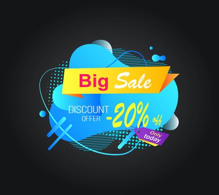 Price reduction vector, discount of shop with 20 percent banner isolated, marketing and advertising of goods of market. Abstract design with deal. Stiker for Black friday sale