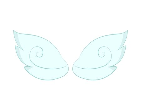 Valentines day or Christmas decor, angel wings of white feather. Flight and cupid or butterfly accessory, holy spirit, fantastic or mythical creature detail. Vector illustration in flat cartoon style