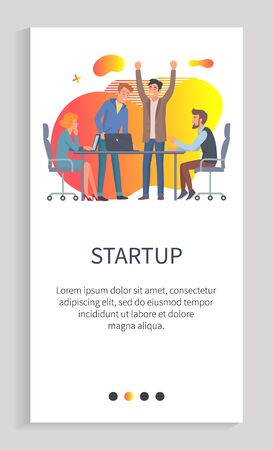 Startup new solution for business of company vector. Man with creative idea, people at conference, brainstorming workers sit by table in office. Slider for business app with startup team