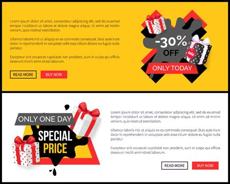 Emblem info about sales, super discounts advertising label. Special price promo tag with presents, black spots and gift boxes web site template. Vector illustration in flat cartoon style Ilustrace