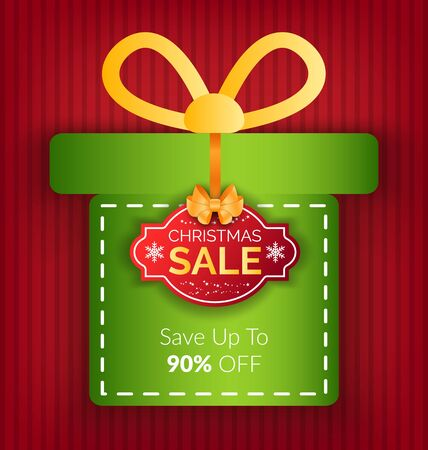 Christmas sale promotion banner vector. Present with text saying 90 percent off price. Lowering of price and reduction of costs on winter holidays. Sticker for shops and stores, seasonal offers