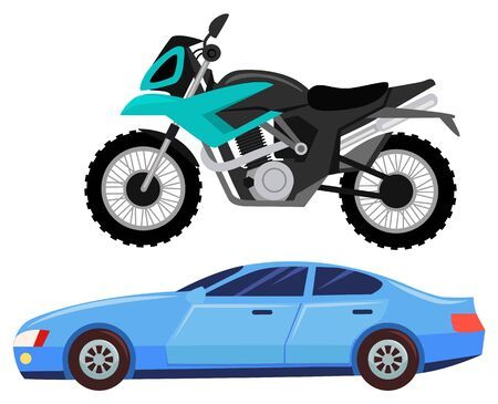 Sport car isolated transportation. Vehicle transport of cool modern type and shape. Motorbike and bike with seat, lorry. Buy new car and moto bike. Vector illustration in flat cartoon style