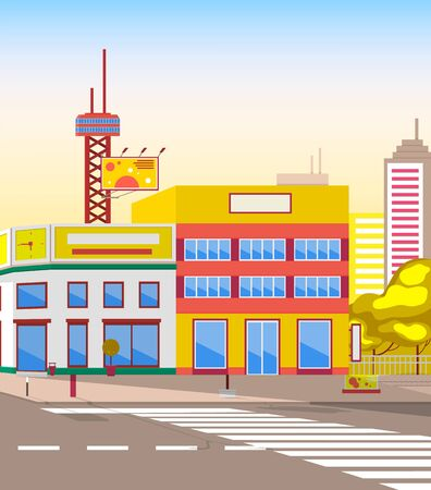 City view, cityscape with street and pedestrian crossing lines. Tower and billboard, board for ads advertisements, houses and roads realistic. Vector illustration in flat cartoon style