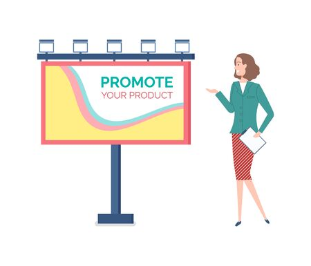 Billboard with promotion of ad, woman presenting new way of business involvement, board with abstract design and text, lights and info advertisement. Vector illustration in flat cartoon style Ilustracja