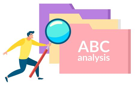 ABC analysis, isolated man with magnifying glass looking at files with research and statistics information. Studying basics character. Vector illustration in flat cartoon style