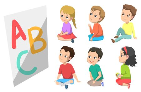 ABC education in kindergarten vector, isolated boy and girl sitting on floor listening attentively. Kids getting knowledge learning to read and write, back to school concept. Flat cartoon Ilustracja