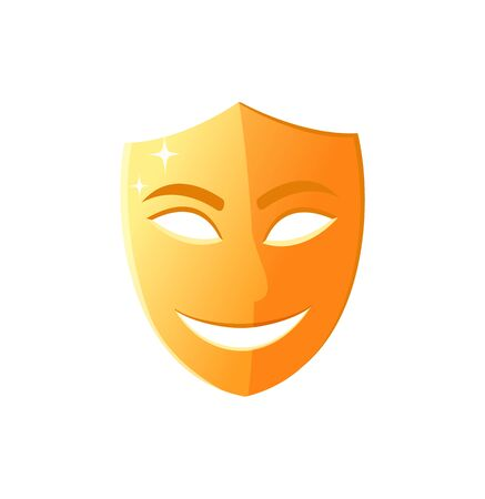 Mask with smile on face, comedy performance in theater isolated icon, golden disguise worn by actors and artists on concerts mood expression. Vector illustration in flat cartoon style