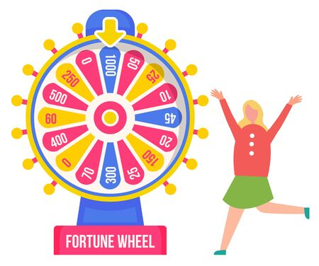 Luck and chance, fortune wheel and girl winner. Pointer and money sum, child and roulette, casino and opportunity, color circle and rotation. Vector illustration in flat cartoon style