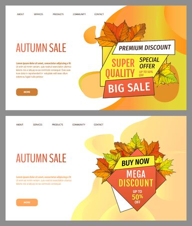 Set of cards with seasonal proposition from store, vector. Shop sale in autumn. Autumnal offer discounts. Fall leaves with gold tags. Flyer hot price and lowered cost, promotion premium quality goods