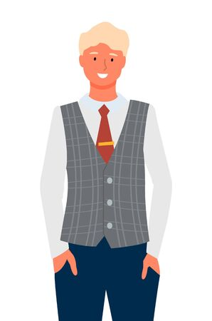 Businessman portrait full length isolated cartoon character on white. Blond business man in jacket and trouser, fashion look of manager or boss, employer. Vector illustration in flat cartoon style