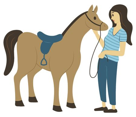 Woman caressing horse, full length view of female in casual clothes standing near stallion, rider and animal character with saddle, riding hobby. Vector illustration in flat cartoon style