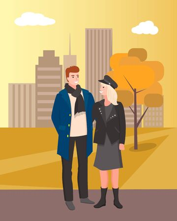 City park relaxation and walks, couple man and woman on weekends relaxing together. Autumn season male and female on path orange tree foliage. Vector illustration in flat cartoon style
