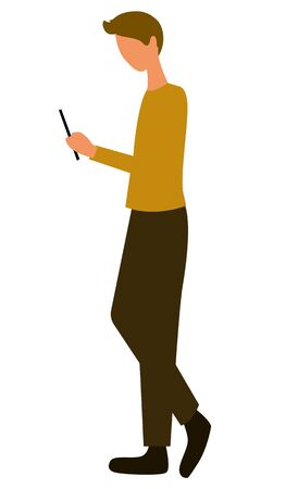 Man with smartphone, side view. Guy chatting or messaging with new phone device, student or pupil side view. Person at marketplace isolated. Vector illustration in flat cartoon style