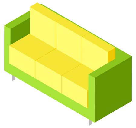 Green couch with yellow pillows isometric. Colorful Sofa isolated on white. Comfortable and cosy furniture piece for living room 3D vector illustration