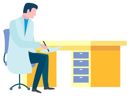 Man wearing white coat, medical worker at job in office. Character, person writing prescription for patient. Healthcare and treatment. Vector illustration in flat cartoon style