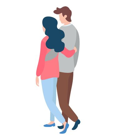 Happy couples walking, young man and woman back view spending time together. Isolated on white, merry lovers. Vector illustration in flat cartoon style