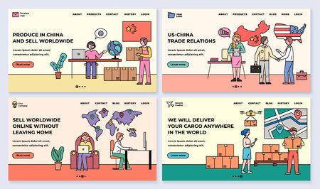 Produce in China and sell worldwide, line vector. Us and China relations, trade without leaving home, we deliver anywhere in world. Outline people with boxes and parcels. Website or webpage template Vektorové ilustrace