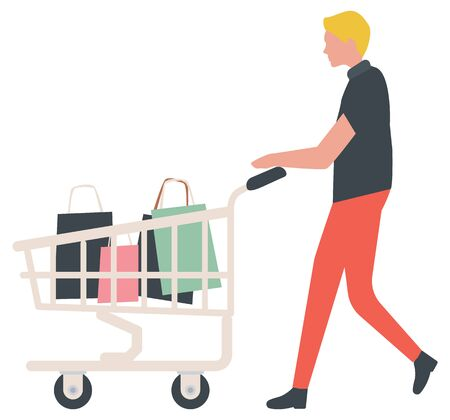 Man going with truck, shopping element. Shopper with purchases in cart, transportation symbol, shopper with bags, sale old collection, commercial. Vector illustration in flat cartoon style