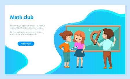 Math club. Group of kids solving geometry problems. Boy drawing on blackboard with chalk. Back to school concept. Vector illustration in flat cartoon style
