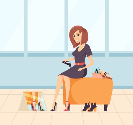 Smiling woman shopaholic choosing new high heels, female sitting on chair and looking at mirror. Lady in dress buying footwear, purchasing . Vector illustration in flat cartoon style Ilustracja