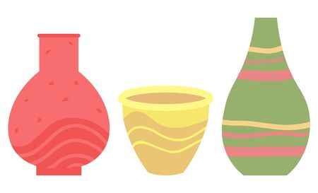 Set of striped vase isolated on white. Crockery decorative jar with waves ornament, color pot in flat style design, ceramic flowerpot. Handmade items from clay. Vase for flowers. Vector illustration