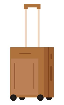Suitcase on wheels, isolated object. Baggage or luggage, summer vacations abroad, journey or trip, leather bag with handle and pockets on zipper. Vector illustration in flat cartoon style
