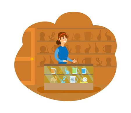 Souvenir shop with toys and items, gifts from vacation. Shelf with cup and watch clock, market with trivia, camel and elephant statue isolated. Vector illustration in flat cartoon style