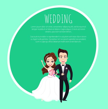 Portrait view of married groom and bride characters, woman in dress holding bouquet and embracing man wearing suit, wedding template invitation card. Vector illustration in flat cartoon style