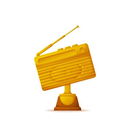 Best radio station vector award on pedestal, golden prize with antenna. Isolated icon of retro receiver, communication broadcast of mass media info