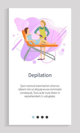 Depilation vector, professional treatment care of delicate zones on clients body, lady with special liquid for customer text with info, app slider. Website slider app template, landing page flat style