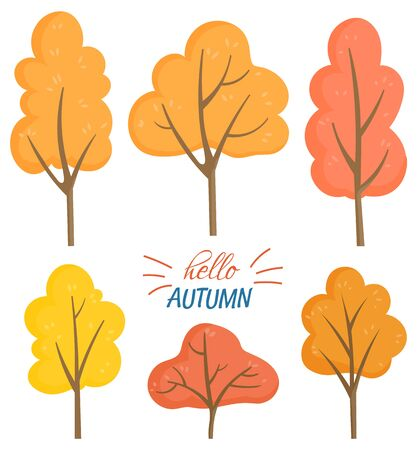 Nature hello autumn vector. Isolated set of trees with dried branches and foliage. Flora turning red. Forest and fall season, natural environment and decorative font. Stickers or cards flat style