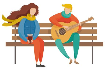 Couple sitting on wooden bench in autumn park. Boy character playing guitar to girl. Man and woman romantic day outdoor. People wearing casual clothes and resting, male and female romantic day vector